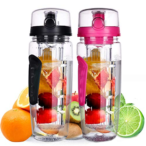 ZOORON Fruit Infuser Water Bottle, 32 OZ BPA Free Sport Infuser Water Bottle for Fitness and Home, Flip Lid – Leak Proof and Durable