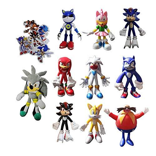 XIANGQIAN Sonic Anzug 10 Stück/Set Sonic Figures Plüschtier Sonic The Hedgehog Puppe Sonic Shadow Tails Amy Rose für Kinder Animals Toys Geschenk