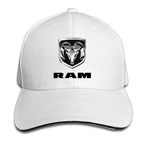 Hittings Bang Dodge Ram Logo Sandwich Baseball Cap Hats White