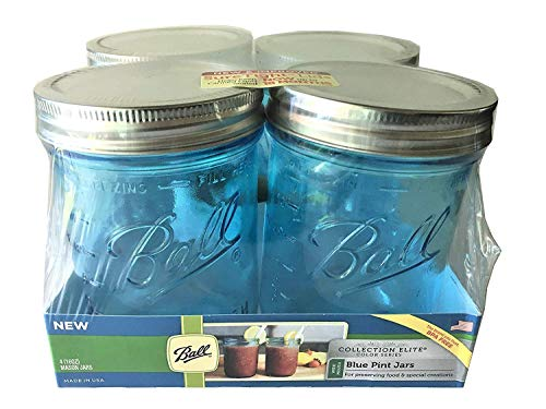 Ball Pint Size Wide Mouth Canning Jars 16-oz, Collection Elite Series Blue (4-Pack)