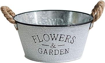 CLISPEED Rustic Flowers Garden Bucket Design Small Metal Succulent Plant Container Vintage Farmhouse Flower Pot Decor