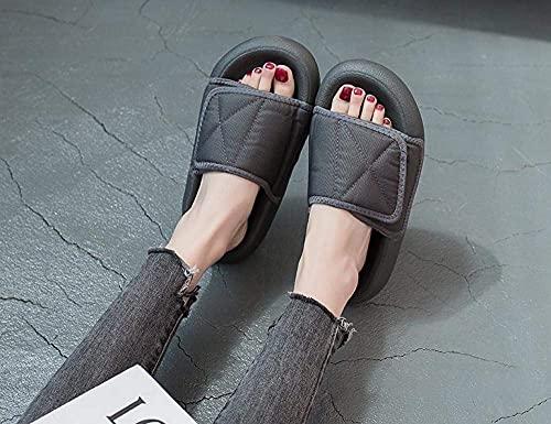 CHEXIAOyg Chancletas Soft Sole Pool Shoes House, Pareja Velcro Sandalias y Zapatillas.Suela Gruesa de Pan Grueso Slippers-Red_Men's 35, Flip Flop (Color : Gray, Size : Women's 40)