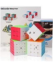 Roxenda Speed Cube-set, Magic Cube-set of 2x2 3x3 4x4 5x5 Kubuspuzzel Met Geschenkdoos, Speed Cube Geheime Tutorial (2X2 3X3 4X4 5X5 Zwart)
