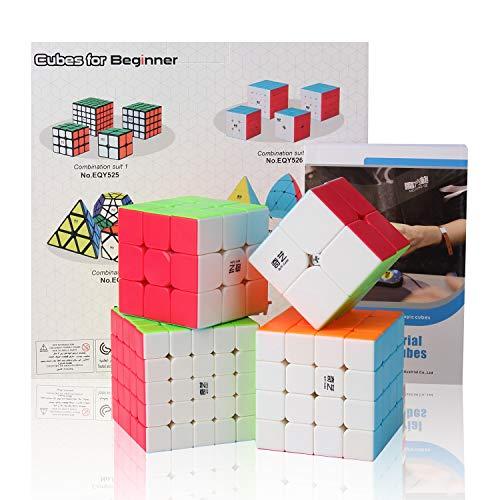 ROXENDA Speed Cube Bundle, Zauberwürfel-Set aus 2x2x2 3x3x3 4x4x4 5x5x5 Speed Puzzle-Würfel mit Geschenkbox, geheimes Tutorial für Speed-Cubes (T2)