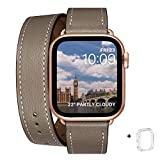 WFEAGL コンパチブル Apple Watch バンド, は本革を使い, iwatch series 6/5/4/3/2/1,SE レザー製,Sport/Edition 向けのバンド交換ストラップです コンパチブル アップルウォッチ バンド(38mm 40mm, キャメルブラウン+ローズゴールド アダプター)