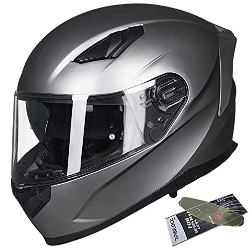 ILM Motorcycle Snowmobile Full Face Helmet Pinlock Insert Anti-fog Dual Visor Motocross ATV Casco for Men Women DOT (Matte Gray, L)