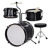 MegaBrand 3-Piece 8-Inch Kids Drum Set Kit w/Cymbal Drum Throne Black