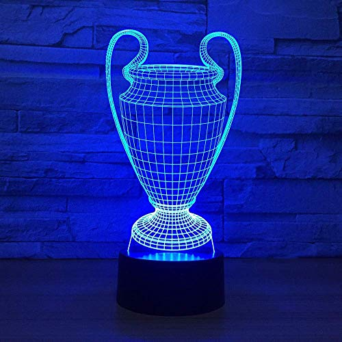 Nachtlampje, dinosaur illusie lamp 7 verschillende kleuren in de nacht van een kind licht decoratie kinderkamer geschenk trofee voetbal cup