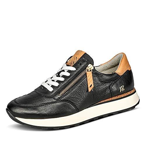 Paul Green Damen SUPER Soft Sneaker, Damen Low-Top Sneaker,Ladies,Halbschuhe,straßenschuhe,Strassenschuhe,Turnschuhe,Schwarz/Hellbraun,39 EU / 6 UK