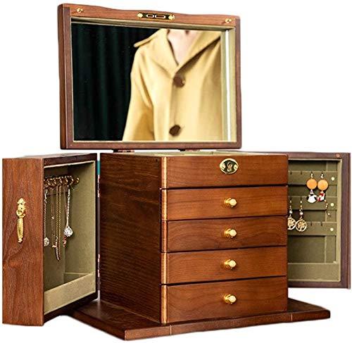 Multifunción Organizador de escritorio, Joyero de madera con espejo joyería organizadores Recuadro 5-Tier joyería Organizador con extraíbles cajones extraíbles for los anillos pendientes del collar de