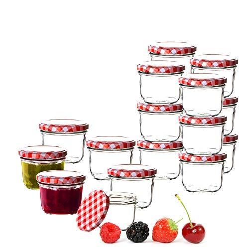 BigDean 18x Einmachgläser 230 ml für Pasteurisierung to 82 - Made in Germany - Marmeladengläser mit Schraub-Deckel Karo-Muster - Einmachgläser - Honiggläser - Als Gastgeschenk