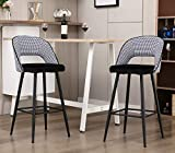Kmax Bar Height Stools Chairs Set of 2 with Houndstooth Pattern Back, Modern Upholstered Kitchen Dining High Barstools, Black White