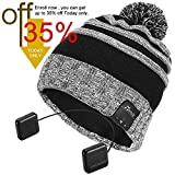 Bluetooth Beanie Hat,Topple Wireless CSR Superior Headphone Beanie Hat HD Stereo Earphone Speaker &Mic,Unisex Washable Men Women Winter Outdoor Fitness (TB205BP-Grey)