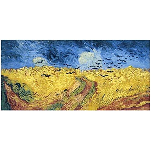zxianc Leinwand Kunst Wheatfield mit Krähen Gemälde Reproduktionen Berühmte Kunstdrucke an der Wand Cuadros Bilder Home Decoration 30 x 60 cm (11,8