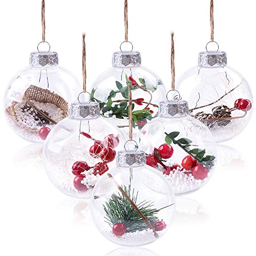 Christmas Balls Ornaments,80mm DIY Clear Shatterproof Fillable Baubles Craft Balls Gifts for Wedding Xmas Party Decor,Filled with Artificial Snow Berry Rattan for Winter Theme