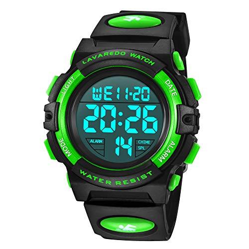 Preisvergleich Produktbild Digital Uhren für Kinder Jungen-Wasserdicht Sport Outdoor Silikon Armbanduhr-Alarm / Stoppuhr / Datum