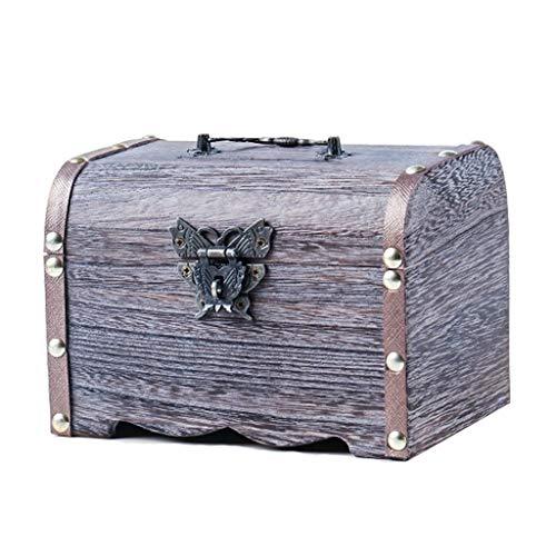 Banco de dinero Retro de Madera Hucha Caja de seguridad Caja de Ahorros hecho a mano caja de dinero de la caja de almacenaje de la joyería Caja de almacenamiento for niñas niños y adultos regalo Hucha