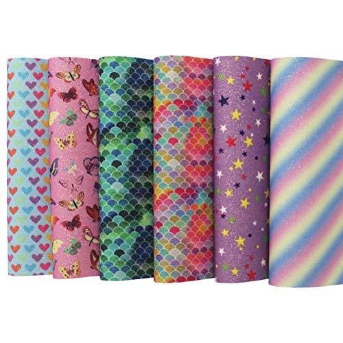Glitter kunstlederen lakens, 6st 8x12 inches stoffen vellen voor lederen oorbel, tas maken, strikken, ambachten, doe-het-zelf decoratie