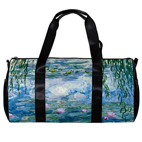 Bolsa de deporte redonda con correa de hombro desmontable con lirios de agua bolsa de entrenamiento para mujeres y hombres