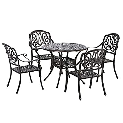 Outsunny 5-Piece Outdoor Patio Dining Set with 4 Armchairs & ?35.5 Table, Featuring Intricate Scrollwork & ?2 Umbrella Hole