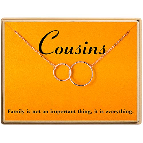 Ldurian Cousins for Eternity Necklace Interlocking Infinity Two Circle Necklace Gift Jewelry for Best Friend