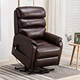 Irene House Dual OKIN Motor Lift Chair Recliners for Elderly Infinite Position Lay Flat Recliner Up to 300 LBS Soft Leather Electric Power Lift Recliner Chair Sofa with Side Pocket (Red Brown Leather)