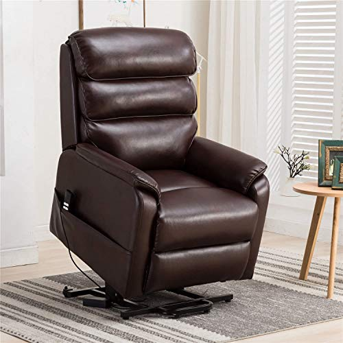 Irene House Dual OKIN Motor Lift Chair Recliners for Elderly Infinite Position Lay Flat Recliner Up to 300 LBS Soft Leather Electric Power Lift Recliner Chair Sofa with Side Pocket (Brown Leather)