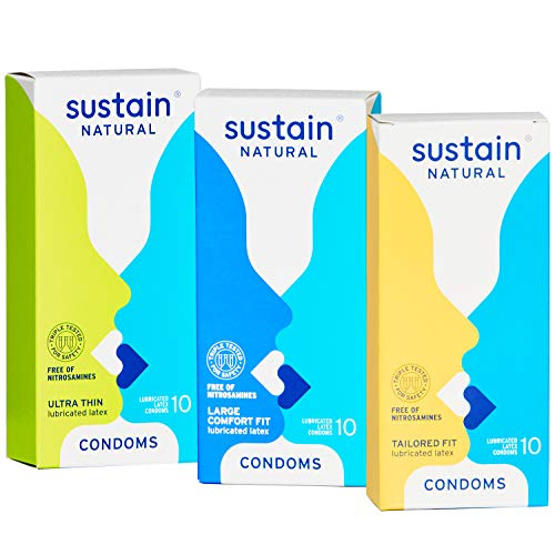 Sustain Variety Pack Condoms, 30 Count (10 Each of Ultra Thin, Tailored Fit and Comfort Fit)