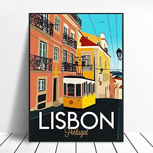 HYY-YY Lisboa Viajes Lienzo Moderno Arte de la Pared impresión del Cartel Pintura Cuadro Cuadros Fondo sofá Sala de Estar Oficina Chico decoración de la Pared 23.6'x31.4 (60x80cm sin Marco