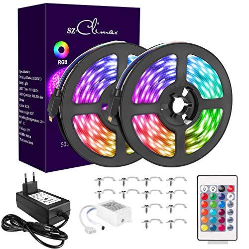 SZCLIMAX 10M 5050 RGB Kit de Tiras LED, Tira de Luz LED Flexible Multicolor con Control Remoto de 24 Teclas, Adaptador de Alimentación 12V, Luces LED Decoración para el Hogar,Navidad,Fiestas