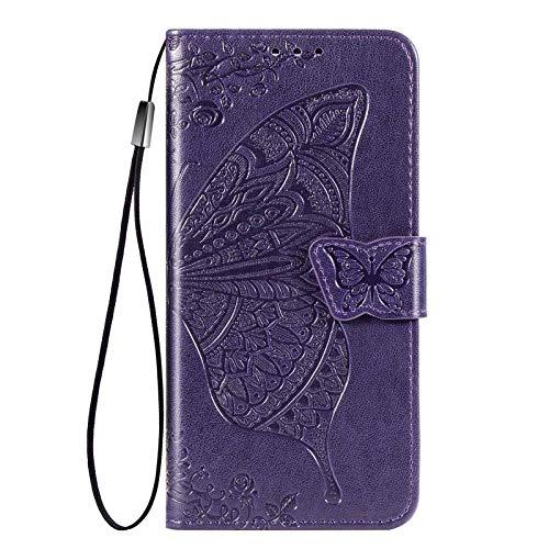 Jeelar Cover per Xiaomi Redmi Note 9T 5G Cover, Custodia Chiusura Magnetica Flip Case Stile, Pelle PU/TPU Farfalla Sbalzato con Supporto di Stand/Carte Slot.