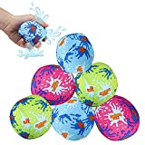 3' Water Bomb Splash Balls [12 Pack] Reusable Water Balloons Water Absorbent Ball - Kids Pool Toys, Outdoor Water Activities for Kids, Pool Beach Party Favors. Water Fight Games by 4E's Novelty
