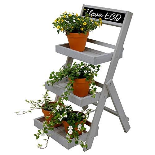 ECD Germany Échelle pour Plantes - en Bois - Gris - Pliable - 71,5 x 36,5 x 5,5 cm - 3 étages - avec Tableau Noir - Escalier Étagère à Fleurs - Résistant Intempéries et Gel - Intérieur et Extérieur