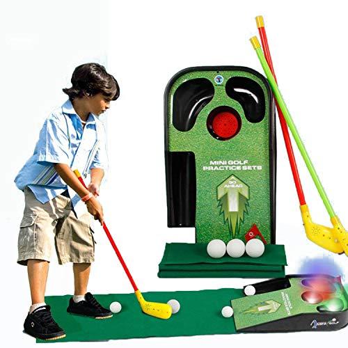 ELEBOX Juego de mini juego de golf para interiores con 2 palos de golf, juego de golf con sonido y efecto brillante, juego de golf para niños, niños pequeños, juego de golf principiante
