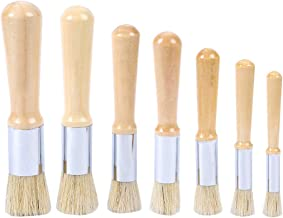 MyLifeUNIT Chalk Paint Brushes Set, Round Stencil Brushes with Bristles, Set of 7