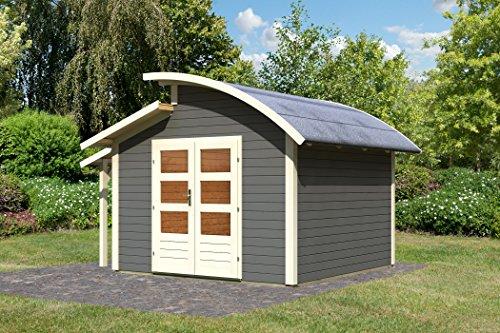 Unbekannt Karibu Gartenhaus Almelo mit Schleppdach terragrau 28 mm