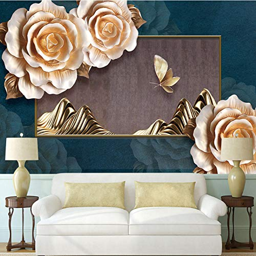 Pbbzl Benutzerdefinierte 3D-Hintergrundbild Edle Klassische Pfingstrose Geprägte Schmetterlingshintergrundwand - Hochwertiges Wasserdichtes Material-250X175Cm