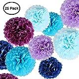 Erosion Seidenpapier Blumen - Papier Pom Poms für das Handwerk - große hängende Pom Poms für Partydekorationen, Hochzeit Hintergrund, Home Decor - blau