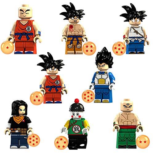 Phy Dragonball Z Figur Actionfiguren Son Goku Son Goten Kuririn Vegeta Tien Shinhan Android 17 Chiaotzu 8PCS Spielfiguren Dekor Bausteinen Sammelfiguren Geschenk für Kinder 8PCS-4.5cm