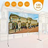 120 inch Projector Screen with Stand -EZAPOR 16:9 290×168CM Portable Foldable Outdoor Movie Home Theater Projection Screen Assembling