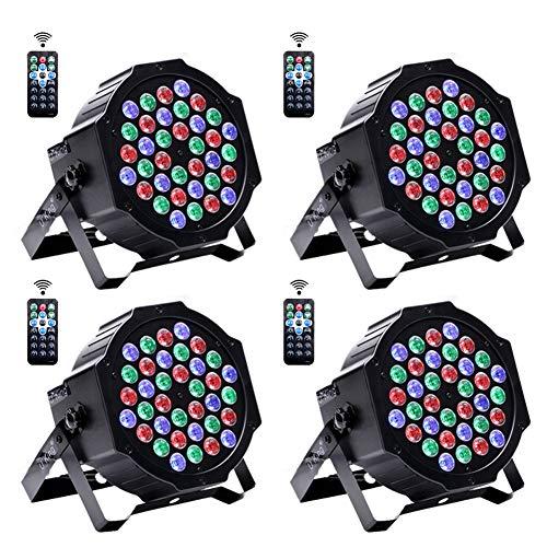 4 Stücke Par Bühnenlicht DMX Licht, 36 LED Disco Licht Scheinwerfer mit Fernbedienung RGBW Lichteffekt DMX 512 Party Licht für DJ Disco KTV Musik Party Show Bar Hochzeit Licht