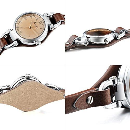 Alienwork Mini Damen/Mächen-Uhr Silber Braun-Glas Leder-Armband Braun YH.KW545S-03 - 5