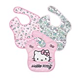 Bumkins SuperBib, Baby Bib, Waterproof Fabric, Fits Babies and Toddlers 6-24 Months - Sanrio Hello Kitty (3-Pack)