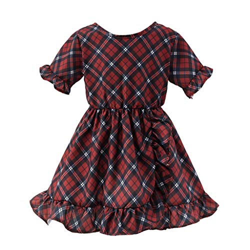 Filles Bébé Robes Princesse Dress Plaid à Volants Dress Girls Skirt Deguisement Enfant Jupe Tutu Anniversaire Fête