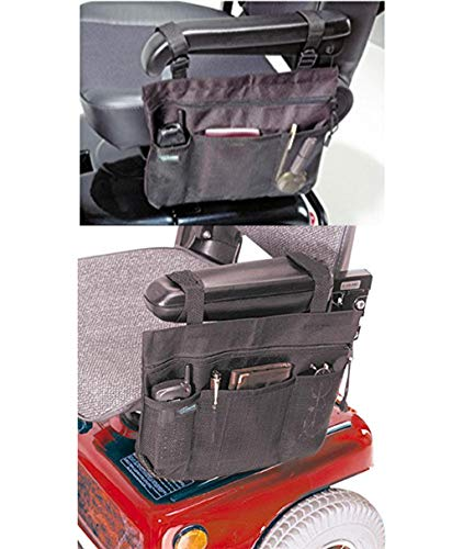 Bolsa lateral para silla de ruedas, bolsa para brazo de scooter, organizador de bolsa para reposabrazos de manos libres, accesorios de almacenamiento para scooter, manuales o eléctricas.