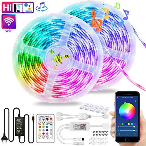 WiFi LED Streifen 10M, VOYOMO Smart LED Stripes RGB 300LEDs, Steuerbar via App und Fernbedienung, Sync mit Musik, 16 Millionen Farben, Kompatibel mit Alexa Google Home