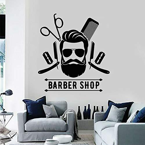Herramientas de peluquería, estilista, corte de pelo fresco, letrero de peluquería, pegatina de pared, decoración, calcomanías de ventana de habitación, Mural Interior A8 57x62cm