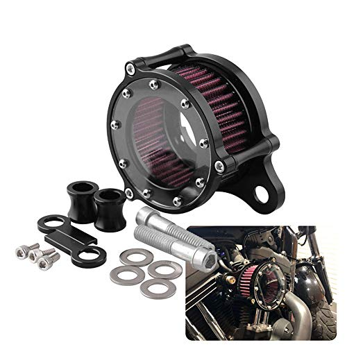 Air Cleaner Intake Filter System Kit For Harley Sportster XL883 XL883N XL883R XL883P XL1200 XL1200L XL1200X Iron 883 Forty Eight XL1200X 2004-2016 Billet Aluminum CNC Machined Washable