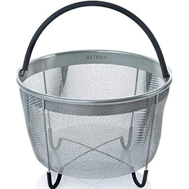 Hatrigo Instant Pot Accessories 6 qt Steamer Basket [3qt 8qt Available], Fits InstaPot Pressure Cooker, Insta Pot Ultra Egg Basket w/Silicone Handle and Non-Slip Legs (Instant Pot 6 Quart)