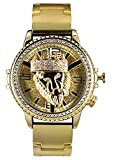 techno king watches for women - Techno King Men's Iced Out Hip Hop Metal Band Watch with Lion Spinner(6977GM-GD)